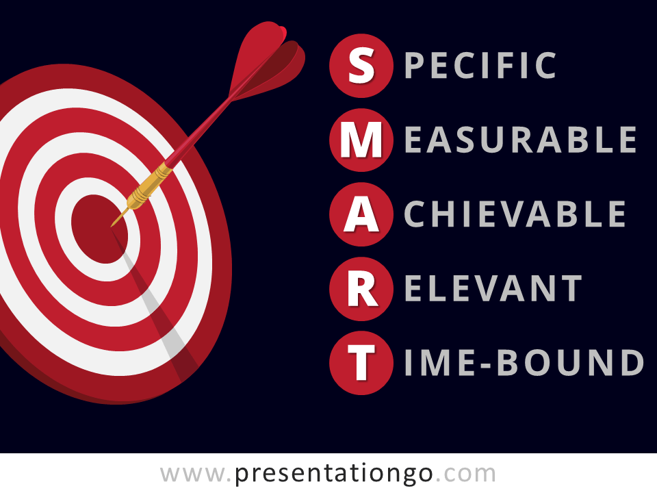 Free Target SMART PowerPoint Diagram - Dark Background