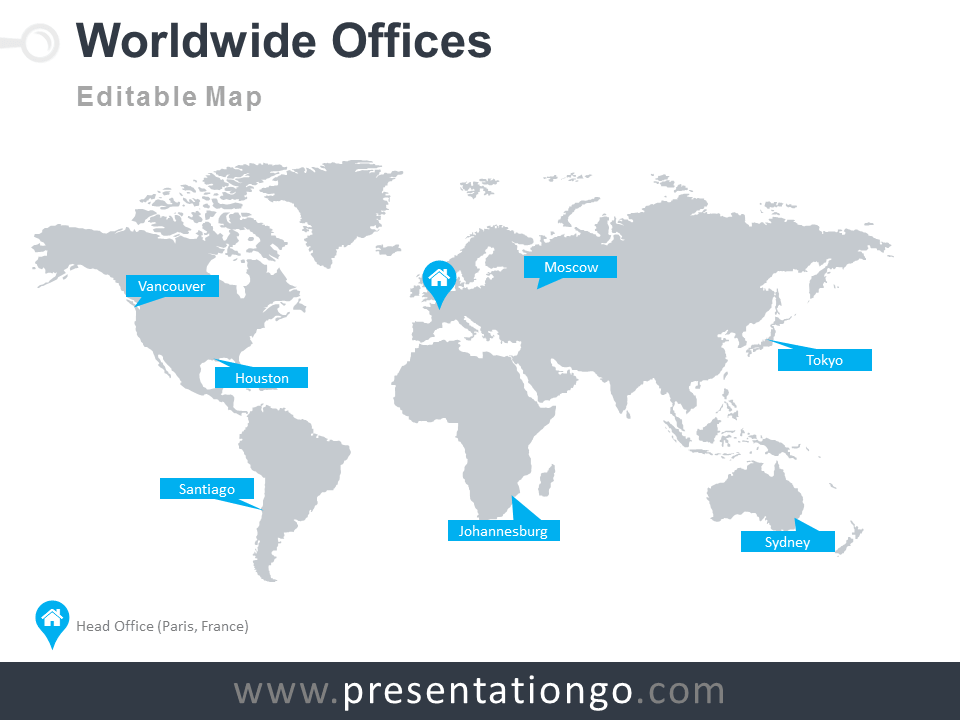 Powerpoint Global Map.Worldwide Offices Powerpoint Worldmap Presentationgo