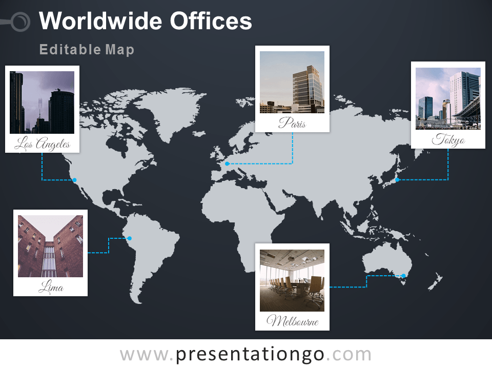 world map offices powerpoint template