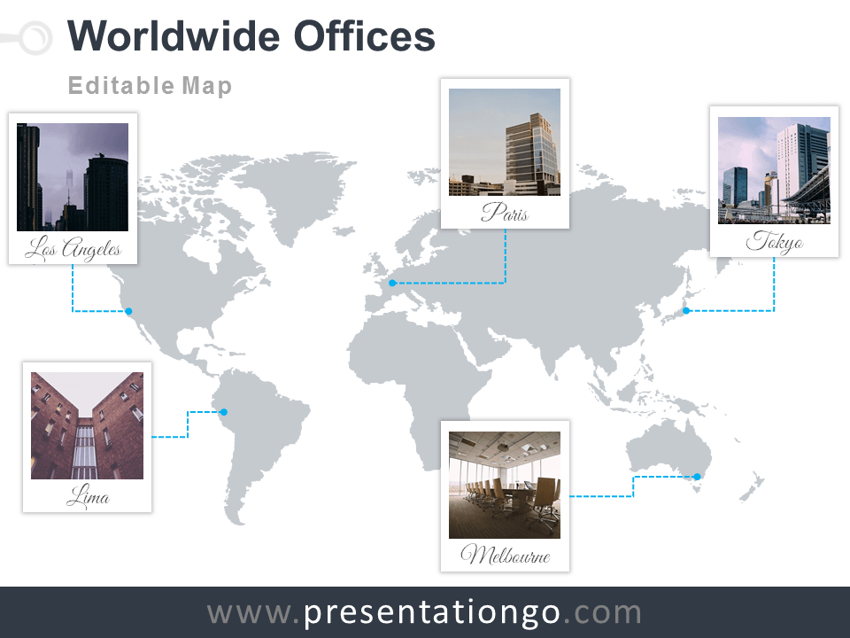 World map offices powerpoint template presentationgo view larger image free and editable powerpoint worldmap with polaroid frames for your offices gumiabroncs Image collections