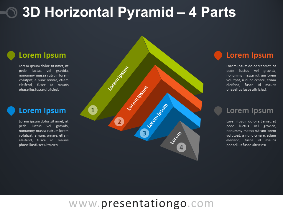 Free 3D Horizontal Pyramid Diagram for PowerPoint w/ dark background