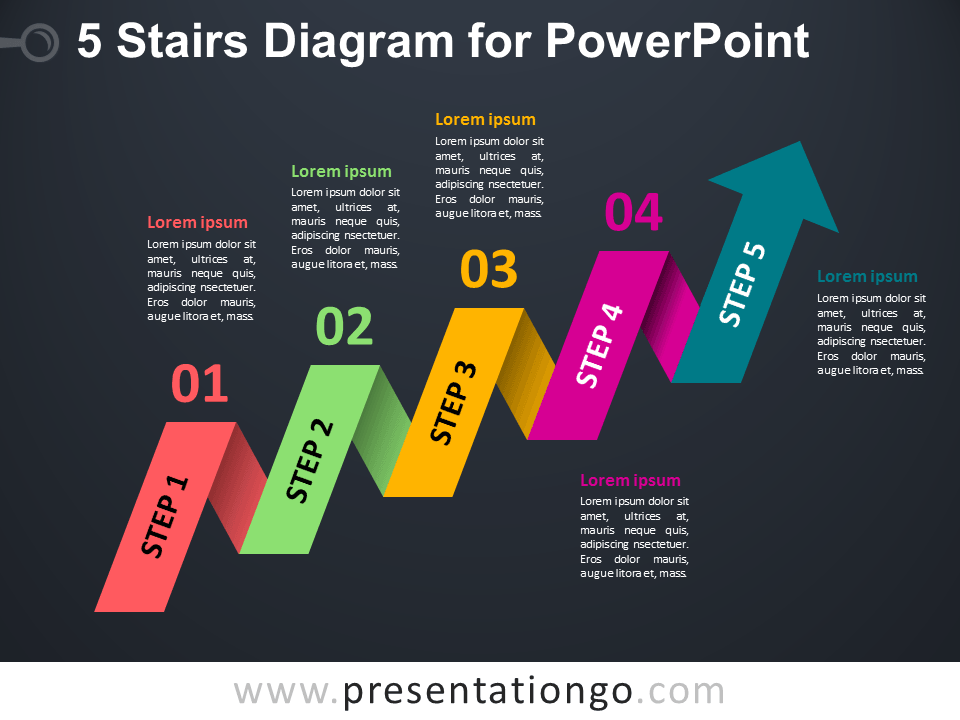 Free 5-Staged Arrow Stair PowerPoint Diagram - Dark Layout