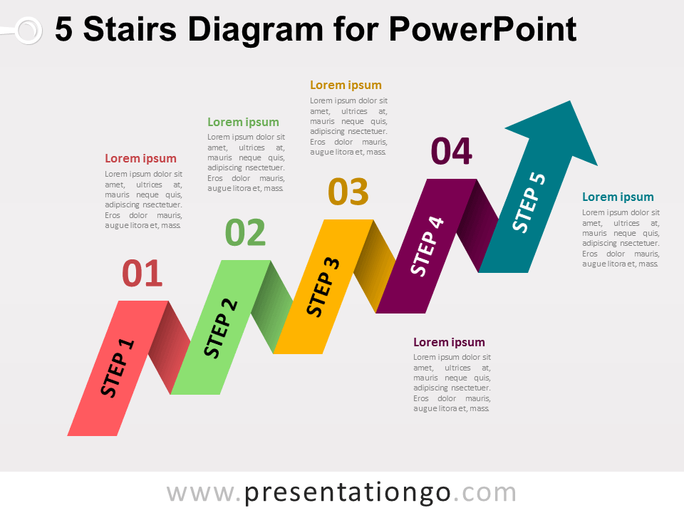5 Staged Arrow Stair Powerpoint Diagram