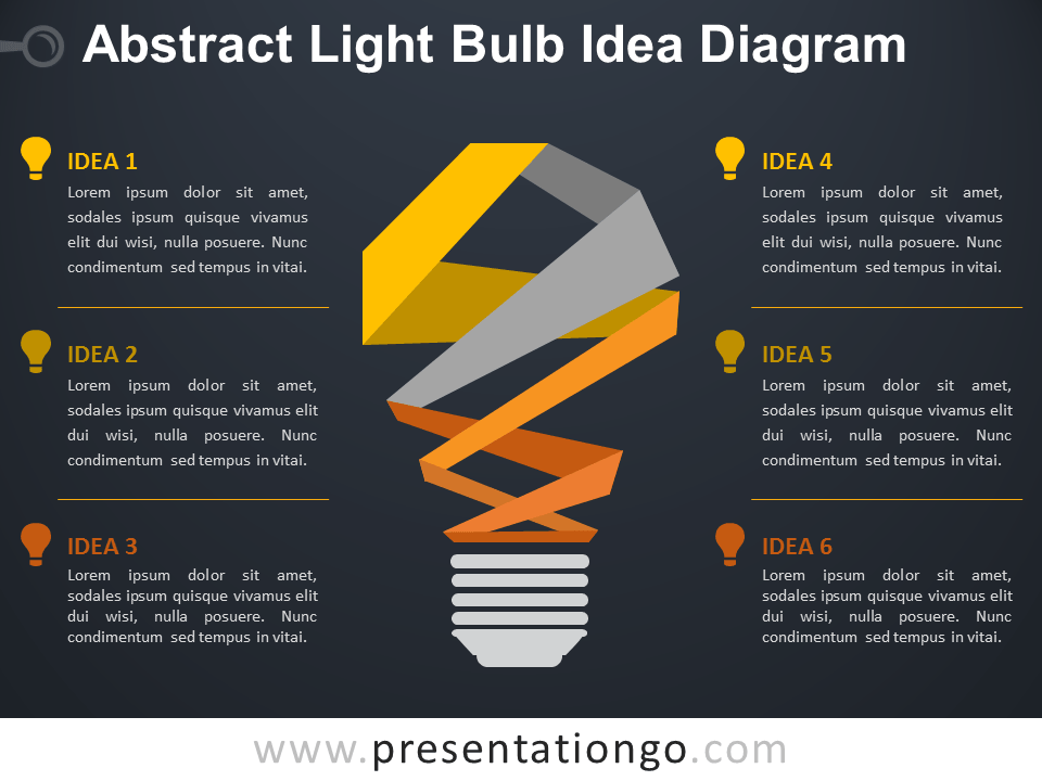 Free Abstract Light Bulb Idea Diagram for PowerPoint - Dark Background