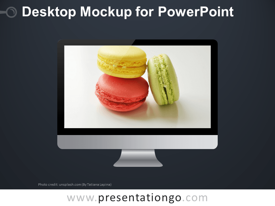 Free Desktop Mockup PowerPoint Template - Dark Background