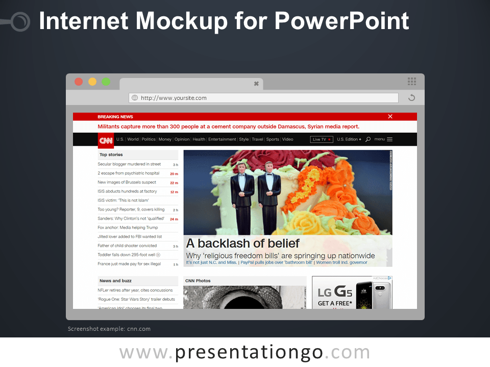 Free Internet Browser Mockup Template for PowerPoint - Dark Layout