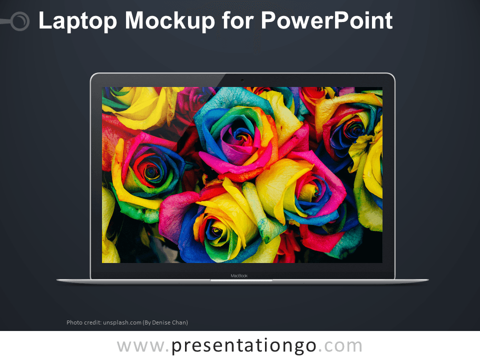 Free Laptop Mockup PowerPoint - Dark Background