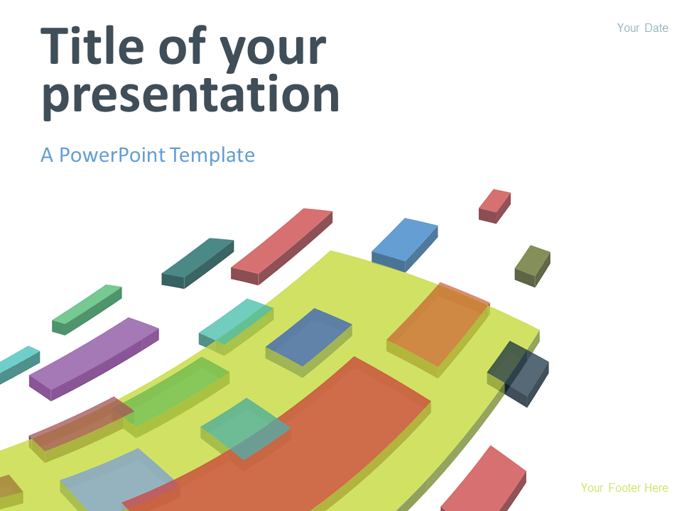 Free modern abstract PowerPoint template. Colorful flying 3D blocks on a white background.