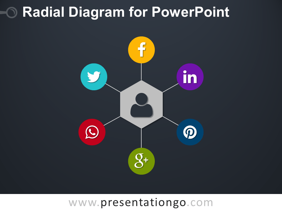 Free Radial PowerPoint Diagram with Hexagon - Dark Layout