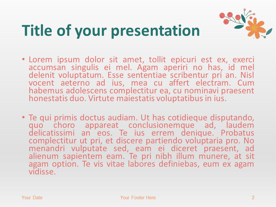 Free Spring PowerPoint Template - Title and Content Slide