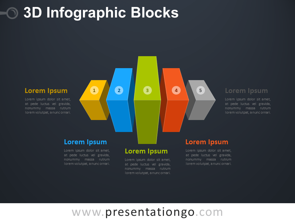 Free 3D Infographic Cube Blocks Diagram for PowerPoint with Dark Background