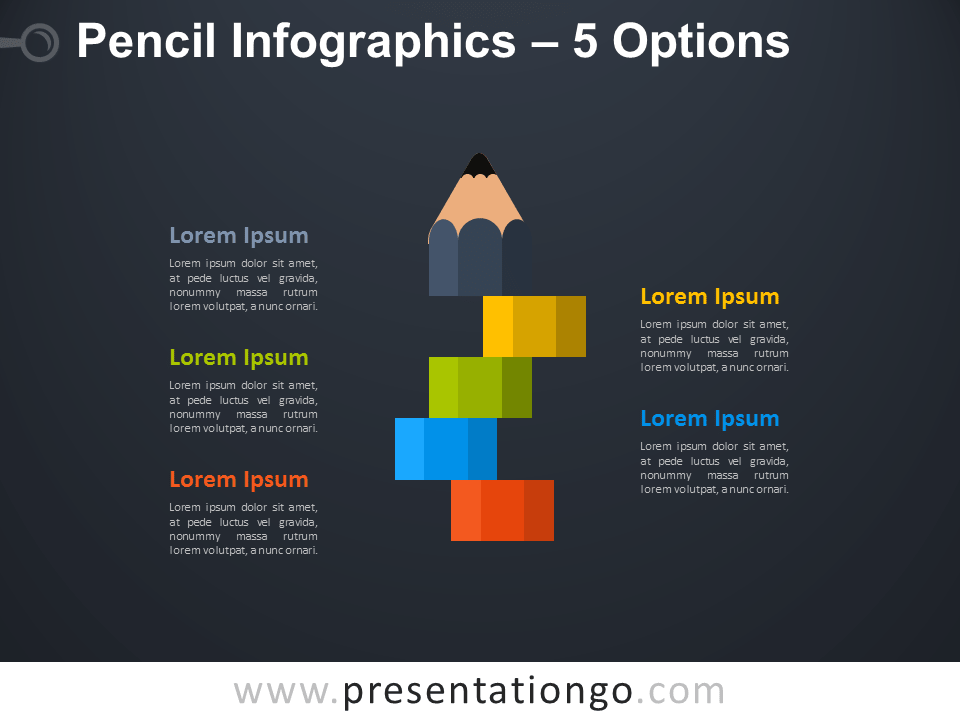 Free Infographic Pencil with 5 Options for PowerPoint on a Dark Background