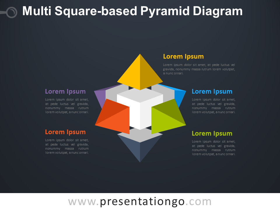Free Multi Square-based Pyramid Diagram for PowerPoint with Dark Background