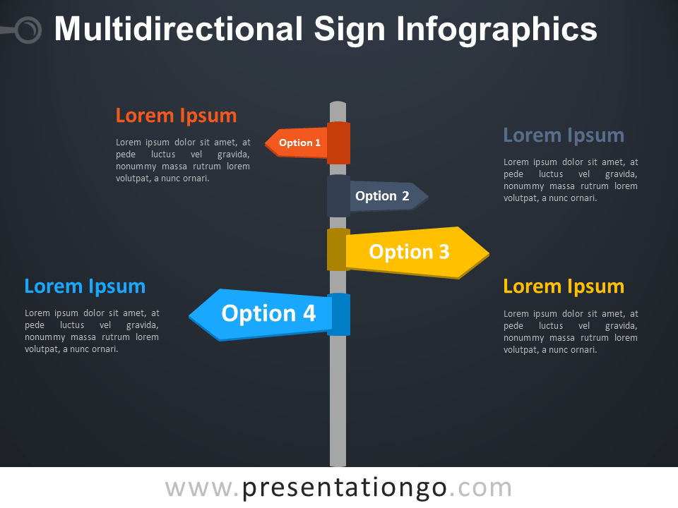 Free Multidirectional Sign Infographics Template for PowerPoint