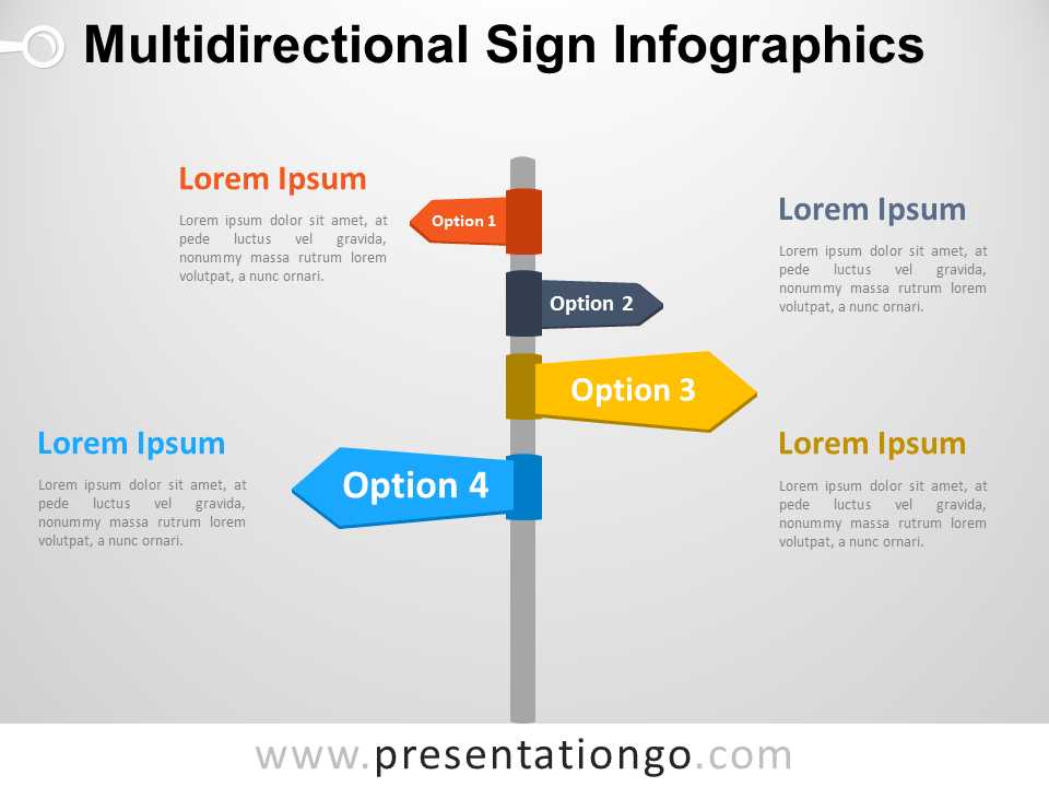 Multidirectional Sign Infographics for PowerPoint