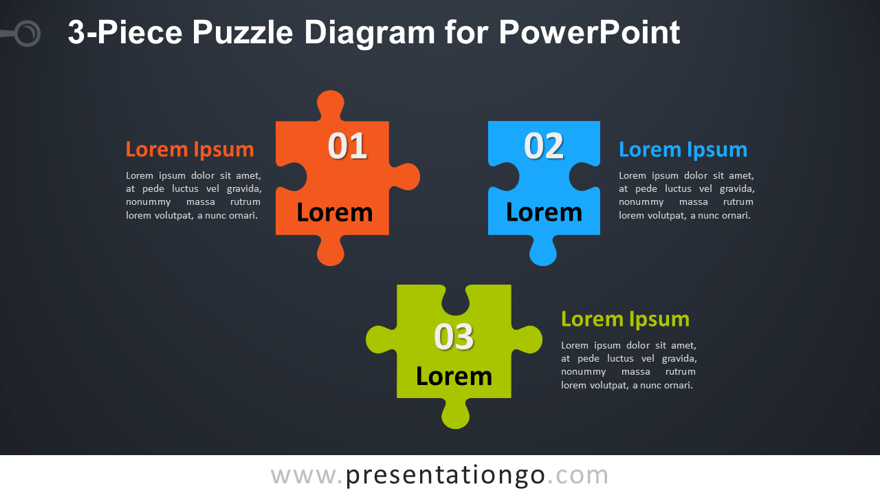 3-Piece Puzzle Diagram for PowerPoint - Widescreen - Dark Background