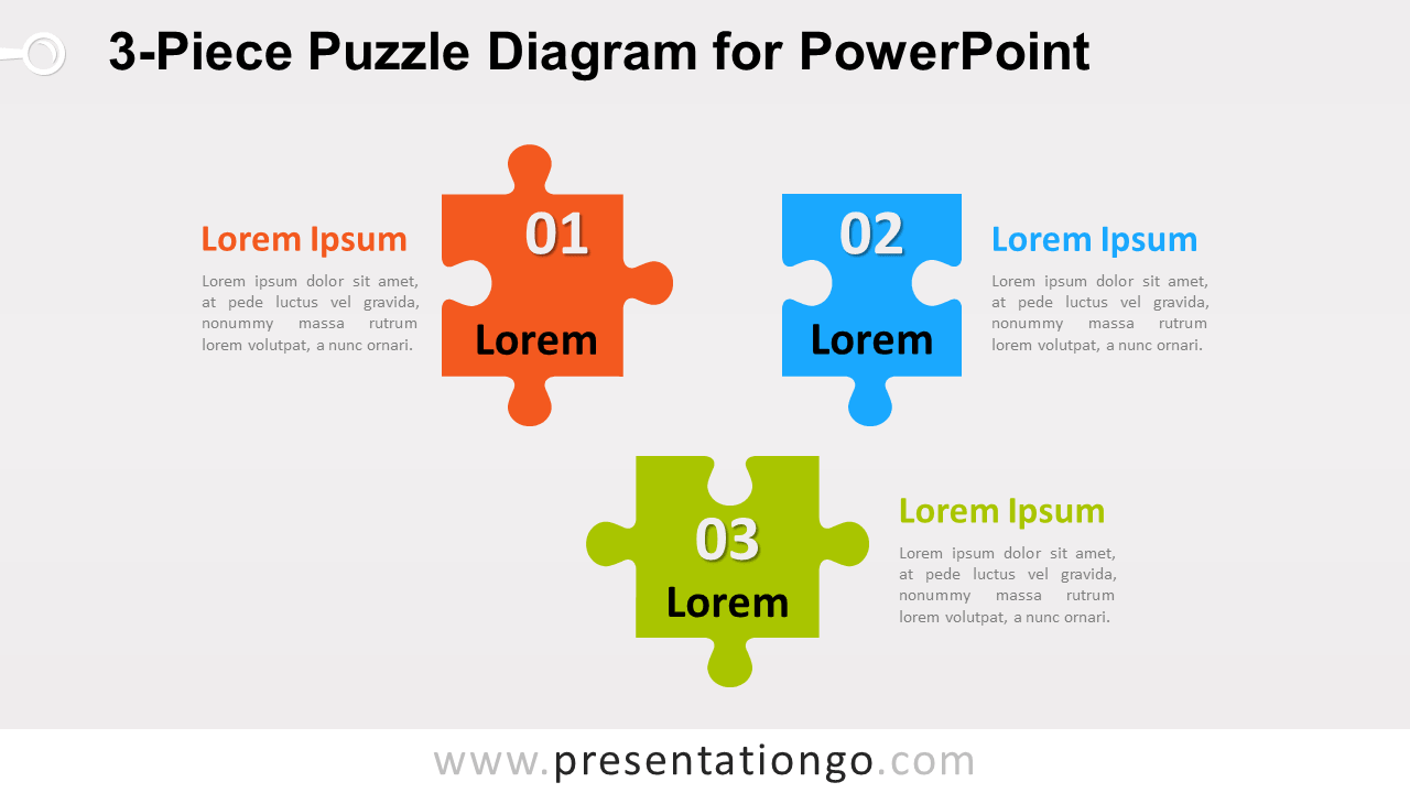 3-Piece Puzzle Diagram for PowerPoint - Widescreen