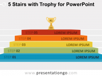 Free 5-Stairs Trophy Diagram for PowerPoint
