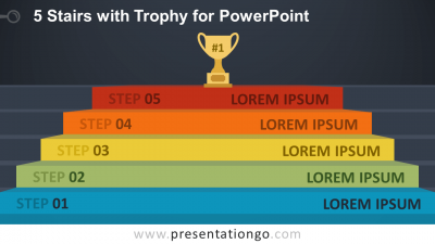 Free 5-Stairs Trophy Diagram for PowerPoint - Widescreen - Dark Background