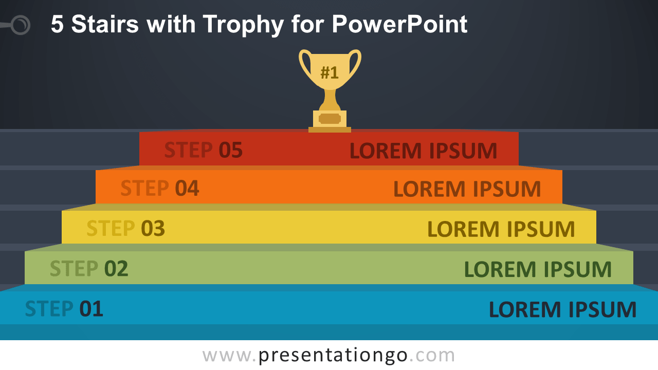 Free 5 Stairs Trophy Diagram For PowerPoint