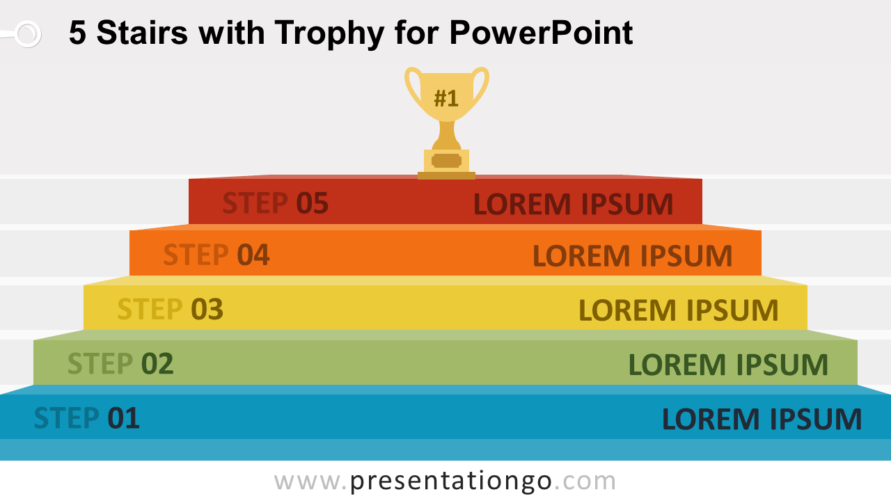 Free 5-Stairs Trophy Diagram for PowerPoint - Widescreen