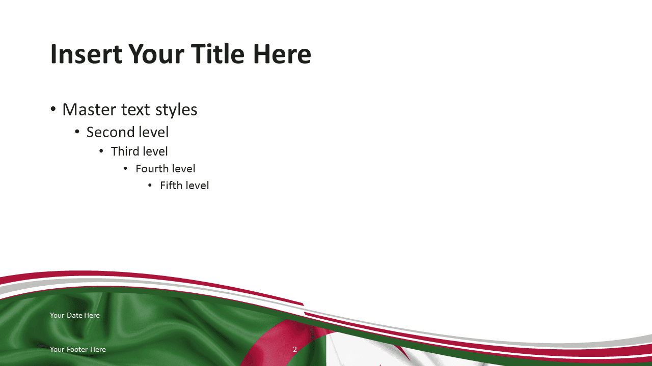 Algeria Flag PowerPoint Template - Content Slide - Widescreen