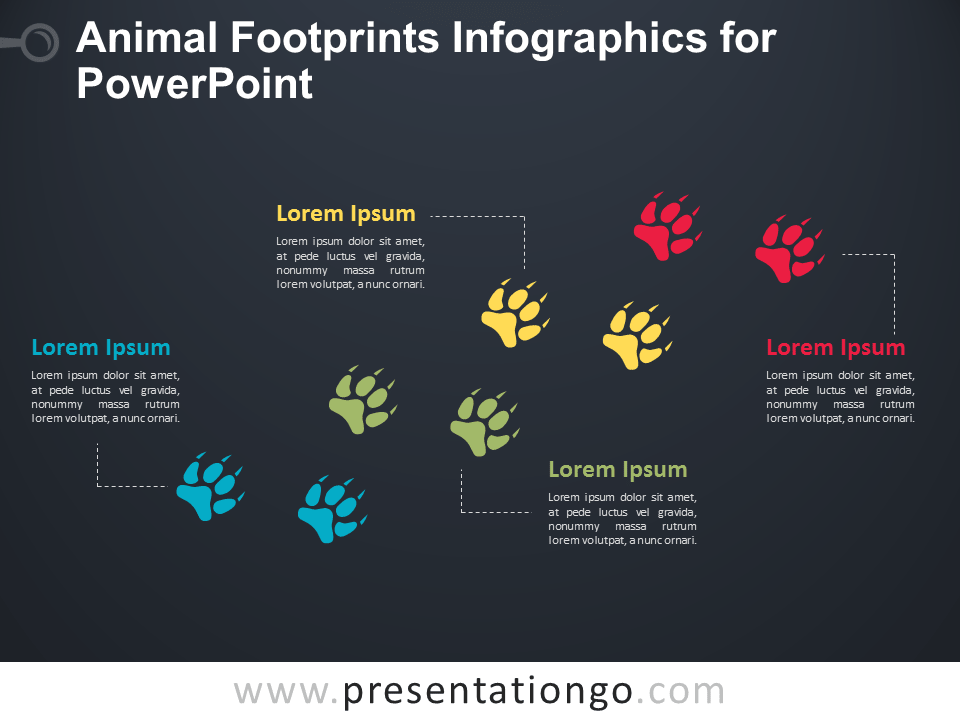 Free Animal Footprints Infographics for PowerPoint - Dark Background