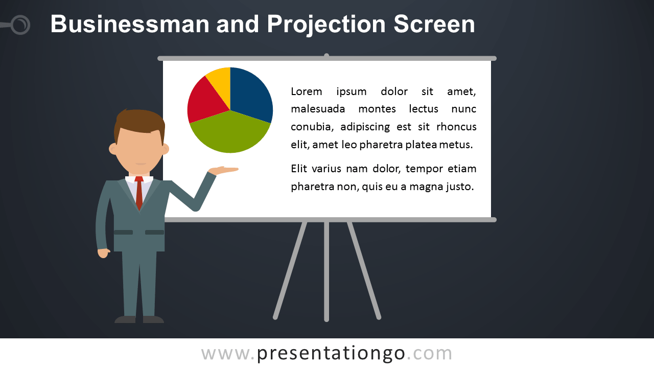 Businessman and projection screen powerpoint template free businessman presentation powerpoint template widescreen dark background toneelgroepblik Choice Image
