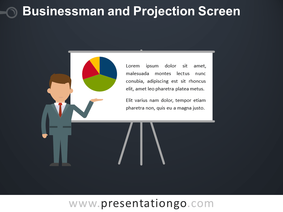 Free Businessman and Projection Screen PowerPoint Template - Dark Background