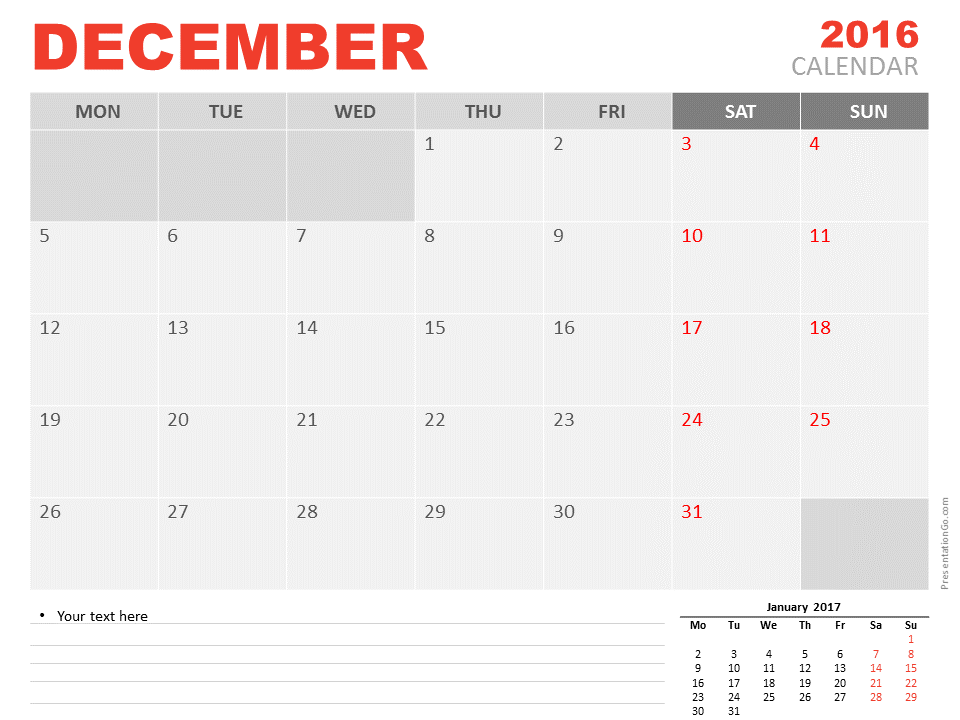 Free December 2016 PowerPoint Calendar Start Sunday