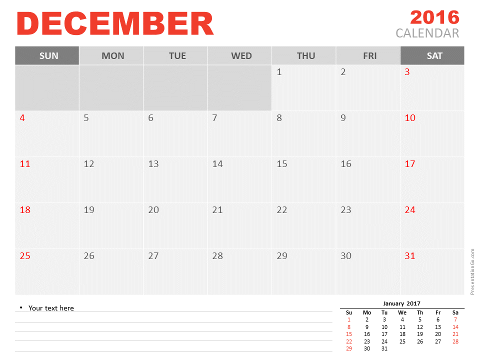 Elegant Free December 2016 PowerPoint Calendar Start Monday ...