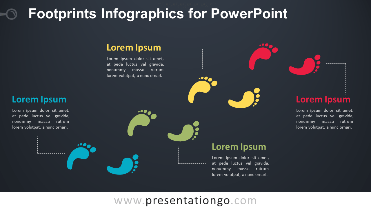 Footprint Diagram for PowerPoint - Widescreen - Dark Background