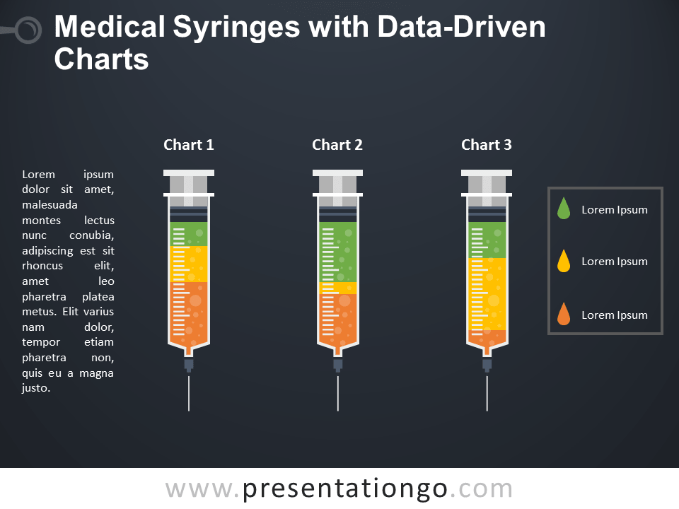 Free Medical Syringes Charts for PowerPoint - Dark Background