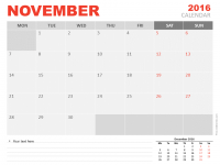 Free November 2016 PowerPoint Calendar Start Monday