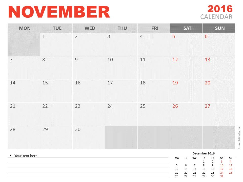 November 2016 powerpoint calendar presentationgo view larger image free november 2016 powerpoint calendar start monday toneelgroepblik Gallery