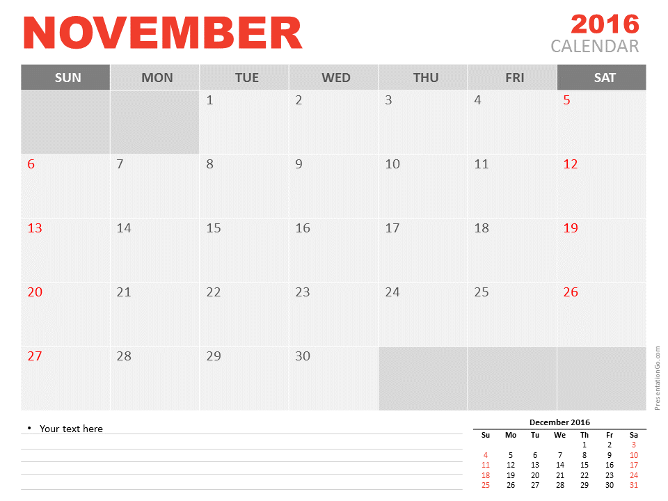 Free November 2016 PowerPoint Calendar Start Sunday