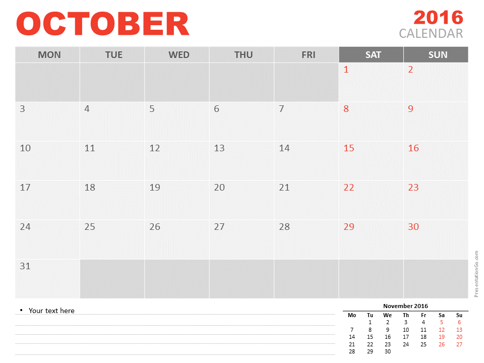 Free October 2016 calendar for PowerPoint. Blank, printable, and ...