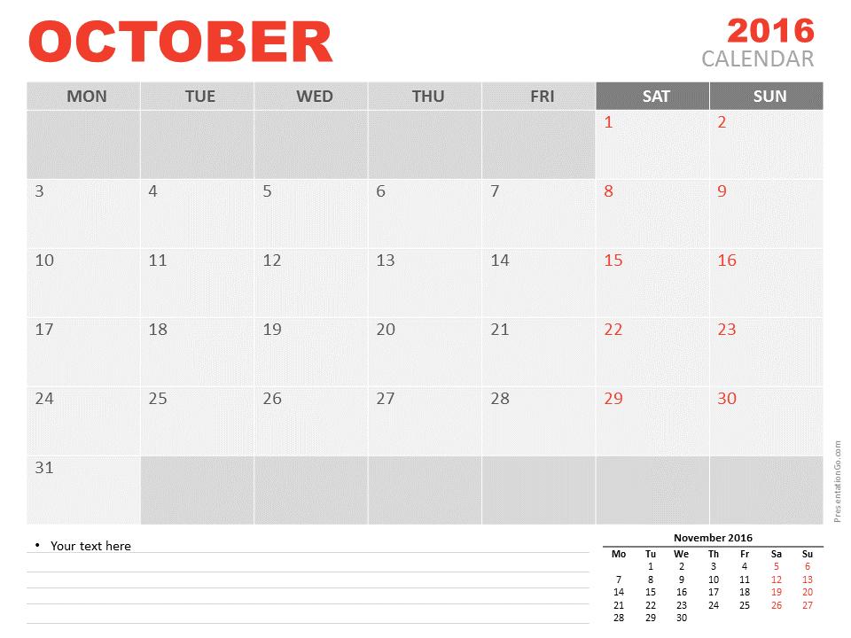 Free October 2016 PowerPoint Calendar Start Monday