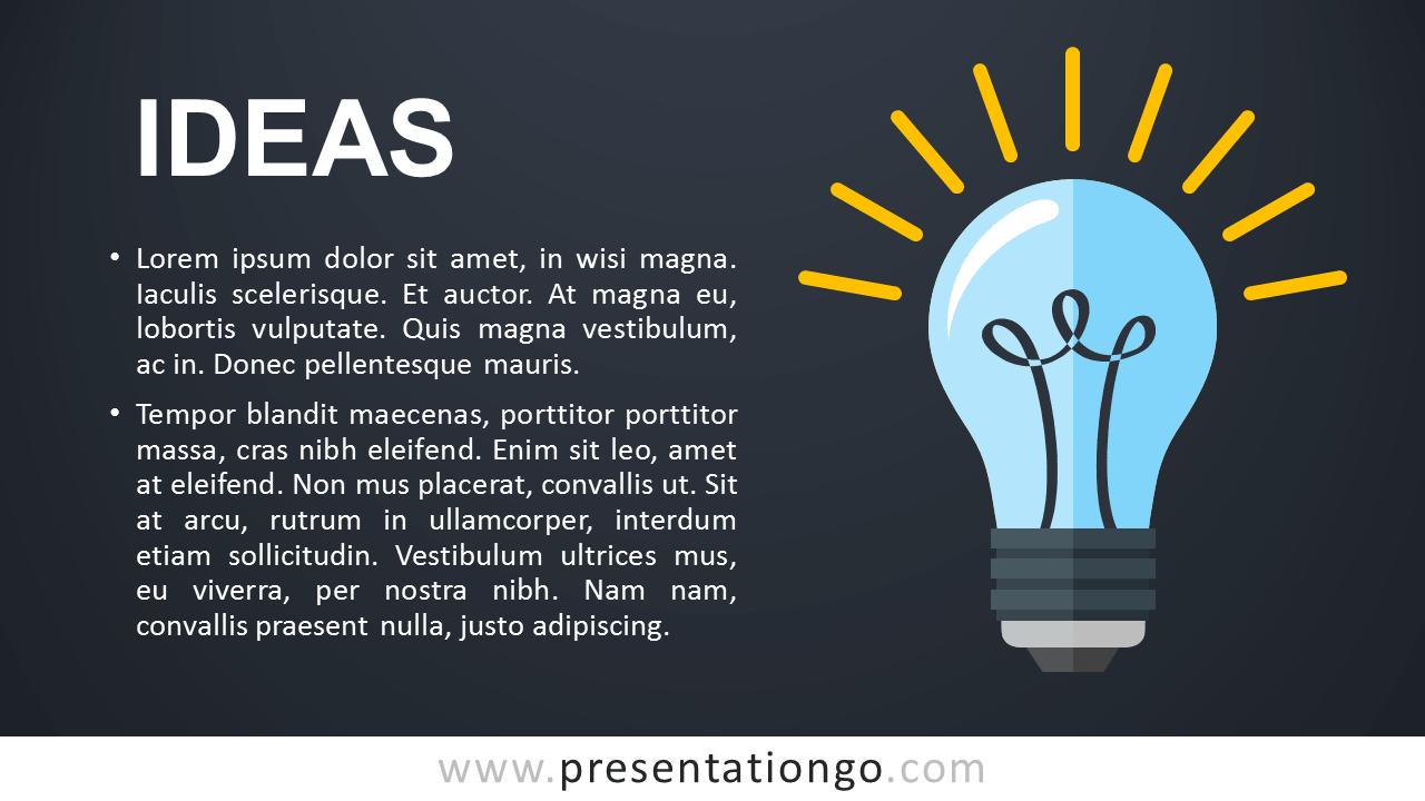 Ideas Metaphor PowerPoint Template - Dark
