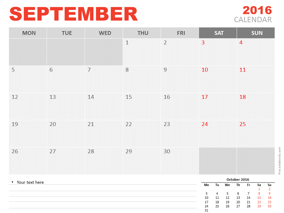 Free September 2016 PowerPoint Calendar Start Monday ...