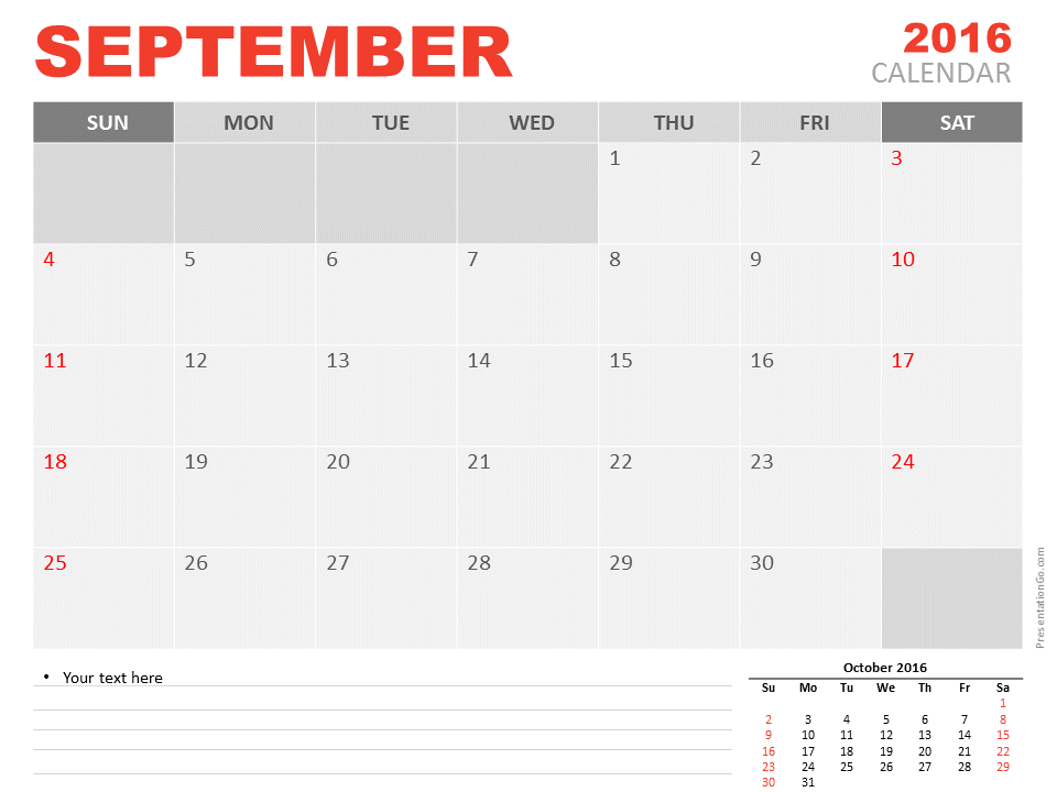 Free September 2016 PowerPoint Calendar Start Sunday