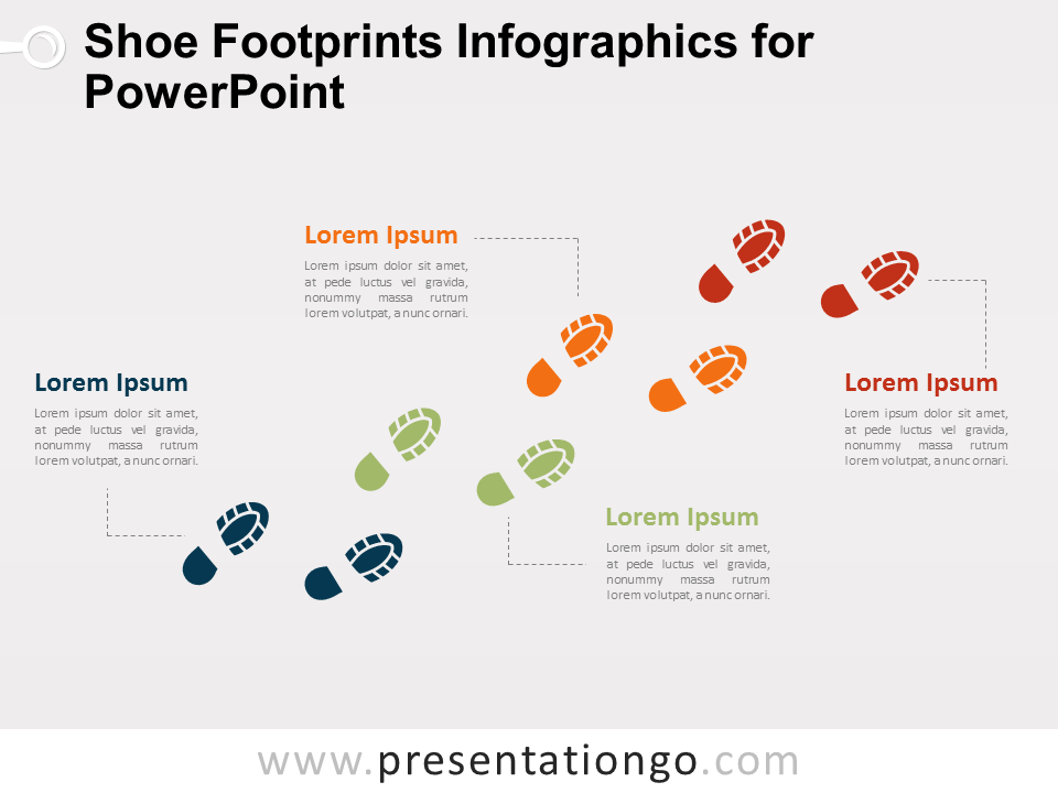 Free Shoe Footprints Infographics for PowerPoint
