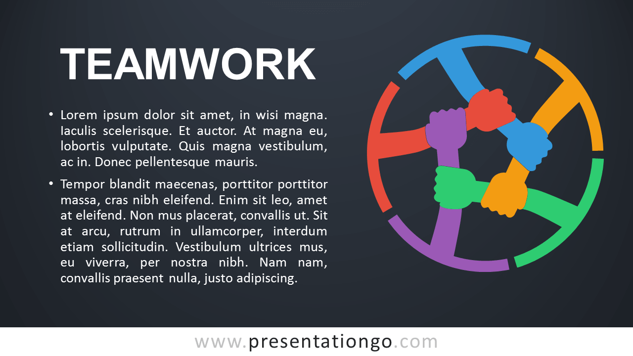 Teamwork PowerPoint Template - Dark