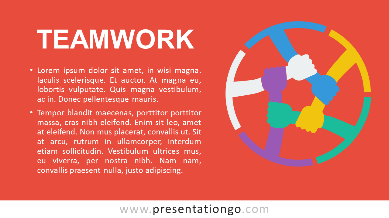Teamwork PowerPoint Template - Orange