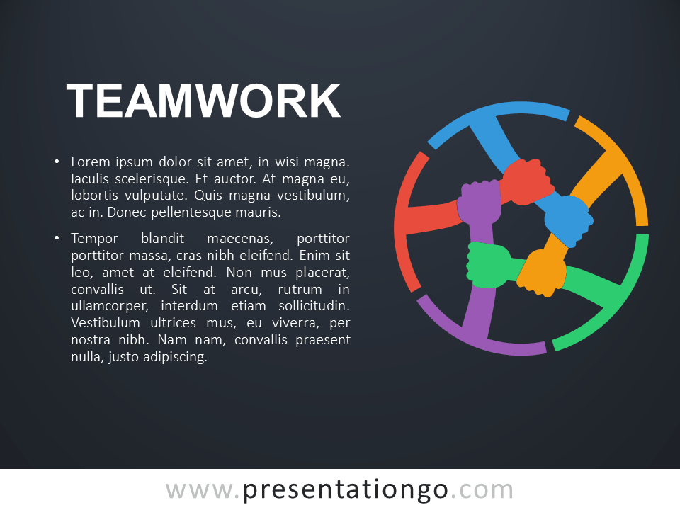 Free Teamwork PowerPoint Template - Dark