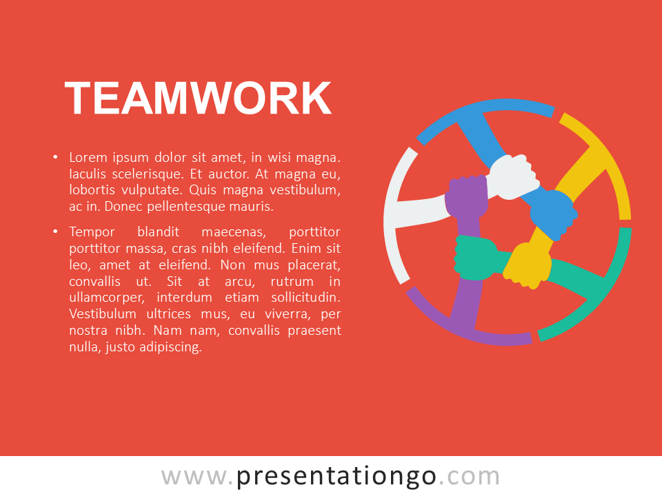 Free Teamwork PowerPoint Template - Orange
