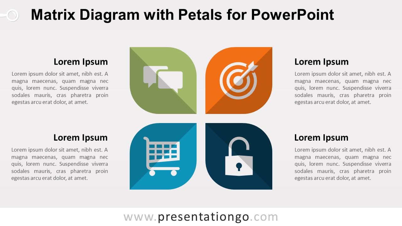 Matrix with Petals PowerPoint Diagram