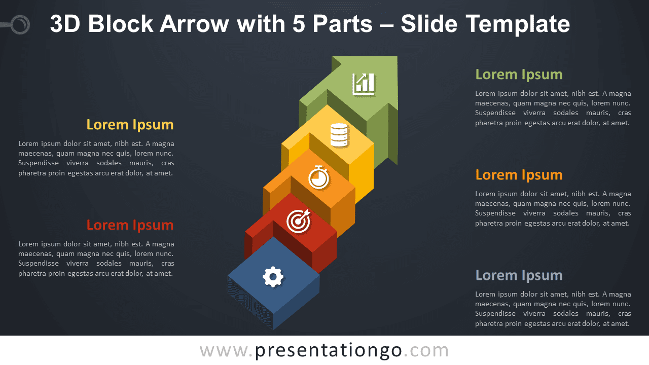 Free 3D Block Arrow with 5 Parts Graphics3D Block Arrow with 5 Parts for PowerPoint and Google Slides