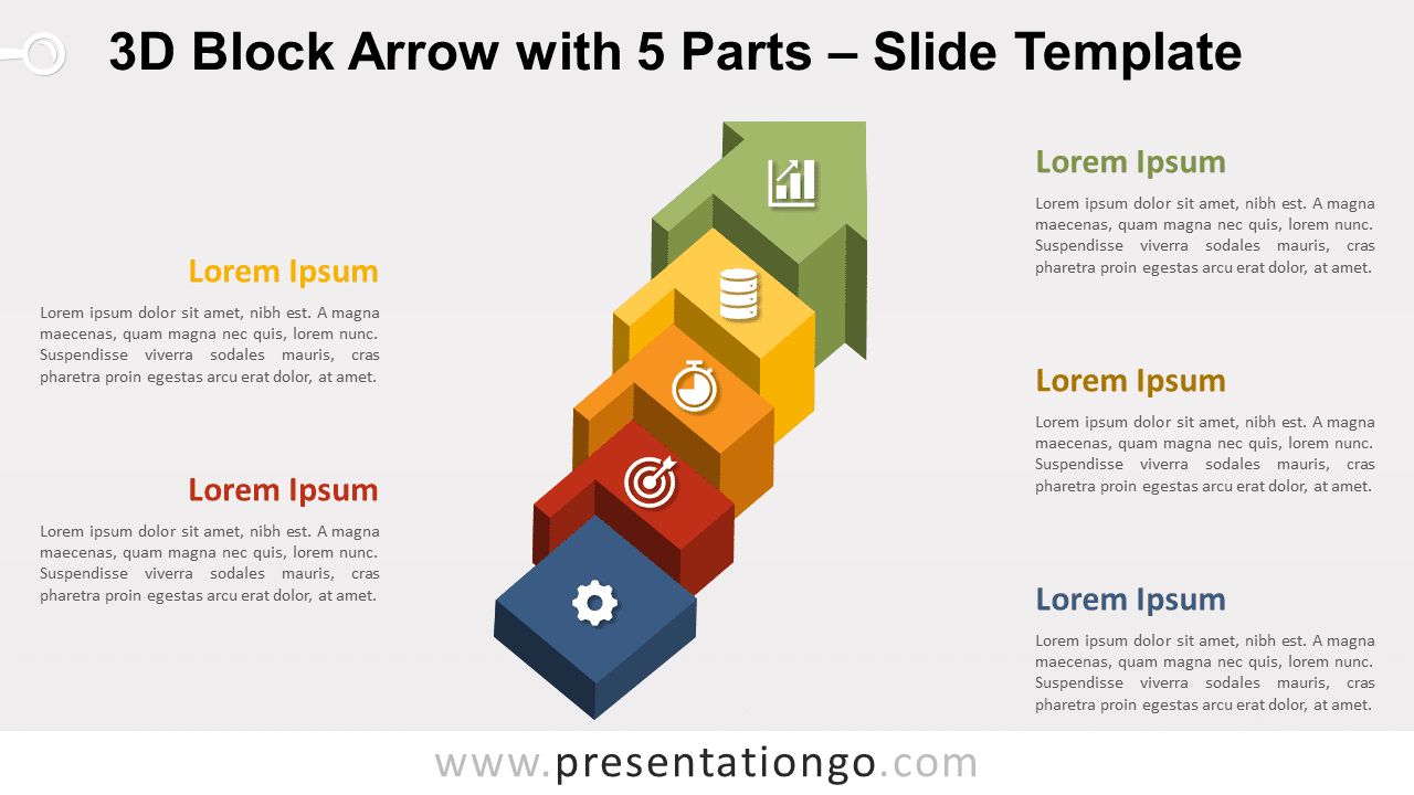 Free 3D Block Arrow with 5 Parts for PowerPoint and Google Slides