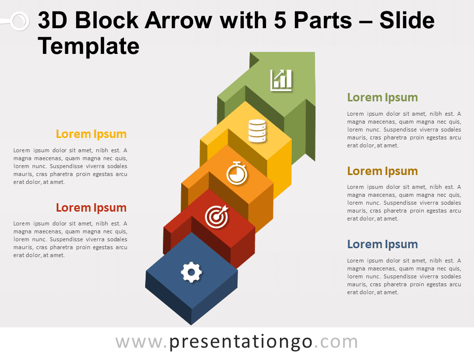 Free 3D Block Arrow with 5 Parts Graphics for PowerPoint